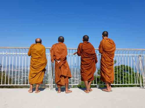 Buddhist Monks Contemplating the Screnery