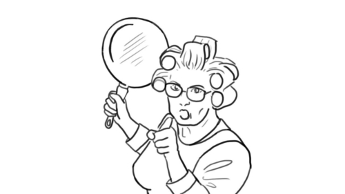 Old Lady Threatening Someone with her Frying Pan
