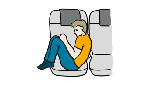 Curling Up on a Plane Seat