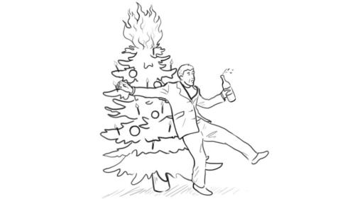 Drunk Man Stumbling onto a Christmas Tree