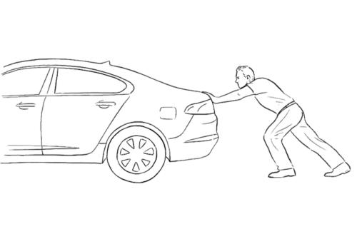 Man Pushing Car